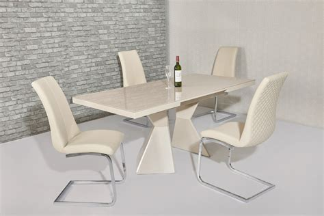 extending cream glass gloss dining table  chairs