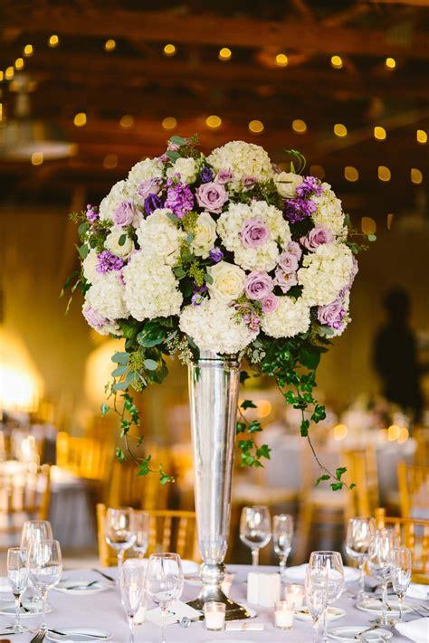 purple  ivory wedding centerpiece elizabeth anne