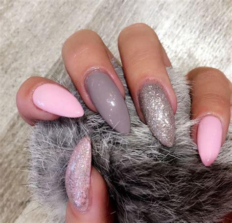 pink grey glitter nails nagel gel pinke naegel