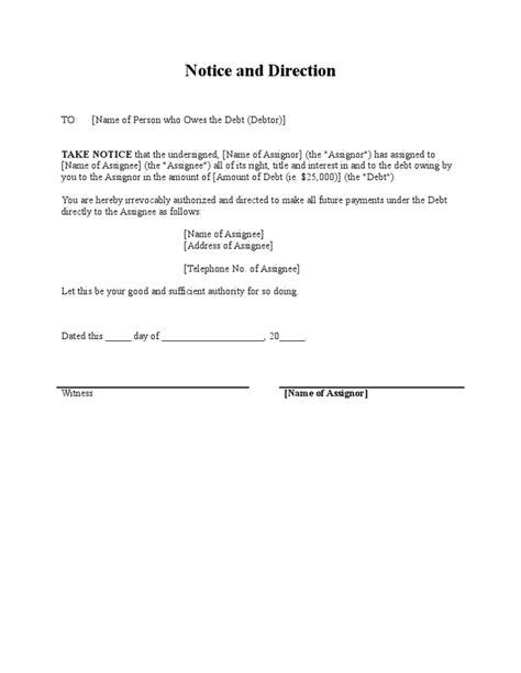 notice  assignment  debt  debtor