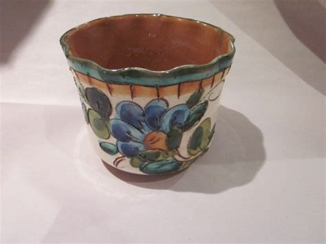 is pot in italy italian florentine terra cotta pottery pot made in italy blue white yellow vtg ebay