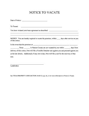 notice  vacate fill  printable fillable blank