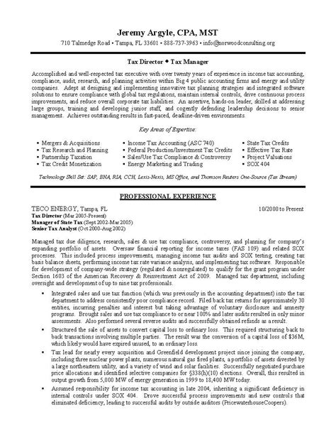 tax manager resume the best resume