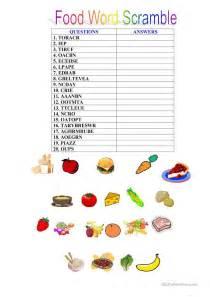 scramble cuisine food scrambled words worksheet free esl printable