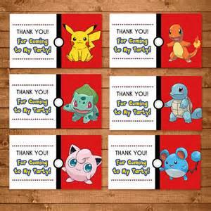 pokemon goody bag tags red white pokemon