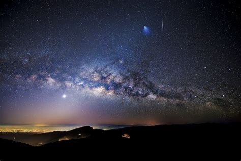 Across The Universe Rocket Meteor Milky Way Over