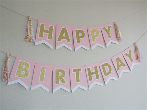 pink gold happy birthday banner pink white happy birthday