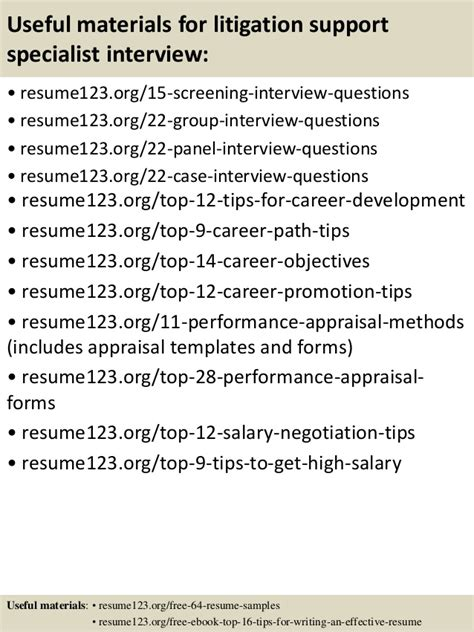 top 8 litigation support specialist resume sles