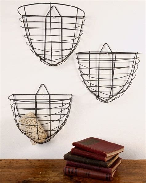 wire storage baskets for kitchen vintage wire wall hanging baskets kitchens 1922
