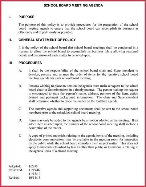 board meeting agenda template   samples formats