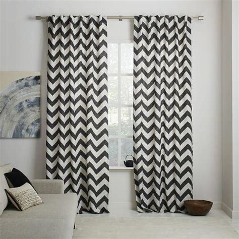 sheer frost grey chevron curtain