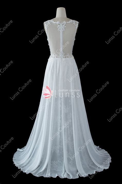 ivory illusion straps  neck sequined lace chiffon high