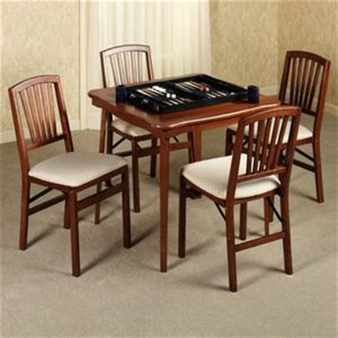 fan back folding chairs with card table