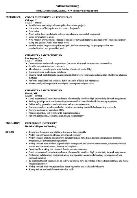 chemistry lab technician resume sles velvet