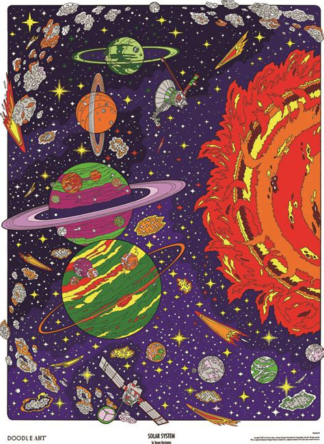 doodle art solar system coloring page poster  spacey  flickr