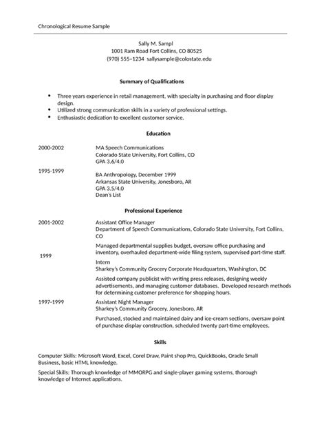 Exle Of Simple Resume To Apply by Simple Store Manager Resume Exle Template