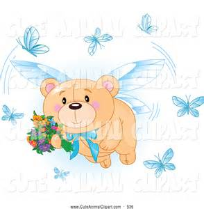 Teddy Bear with Flowers Clip Art