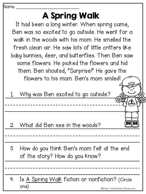 spring fling writing literacy activities reading comprehension worksheets reading