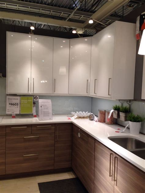 ikea walnut lowers cabinets white uppers mission