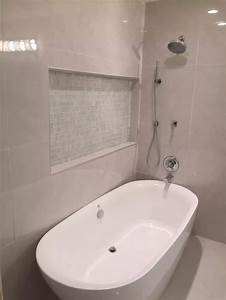 D And A Designs Llc White Porcelain Tile Freestanding Tub With Shower Combo