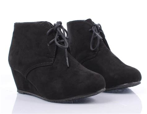 Black Color Faux Suede Lace Up Girls High Heels Kids Ankle