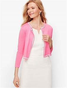 Talbots Sweaters Womens Tipped Dress Shrug Blooming Pink