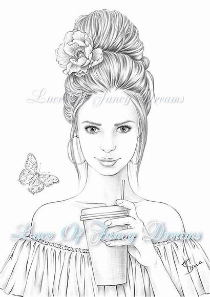 Coloring Woman Printable Adult Pretty Sheet Colouring