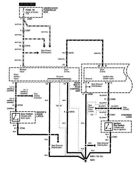 acura rl 2003 2004 wiring diagrams key warning