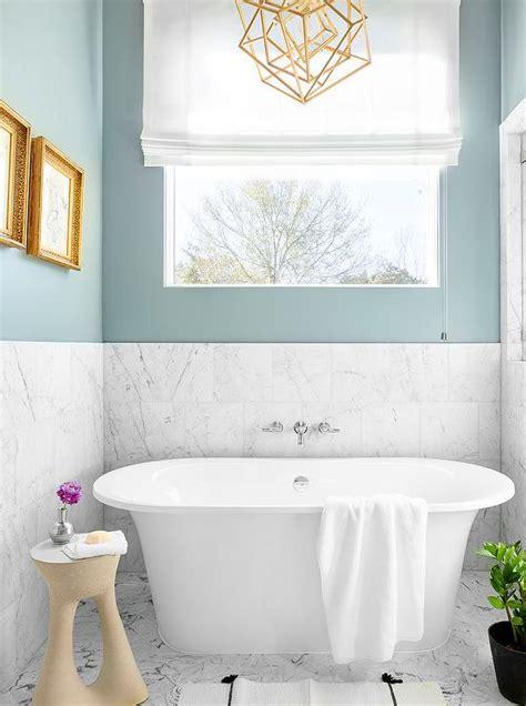 Spa Blue Bathroom by Large Drum Pendant Light Oval Bathtub