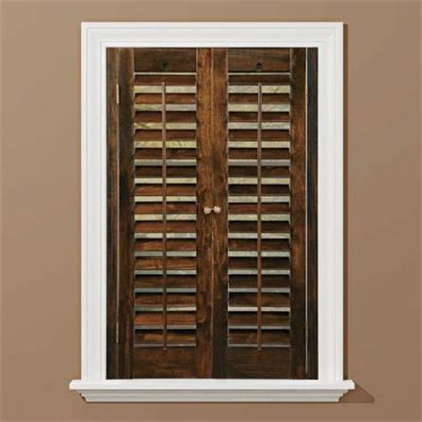 interior shutters home depot homebasics plantation walnut real wood interior shutters price varies by size qspc3124 the