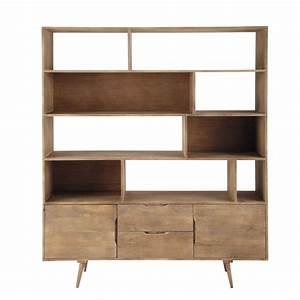 bibliotheque vintage en manguier massif grisee l 162 cm With bibliotheque meuble maison du monde