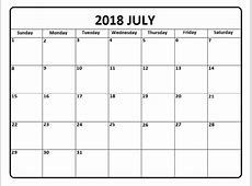 Printable Monthly Calendar 2018 July – 2018 Calendar Template