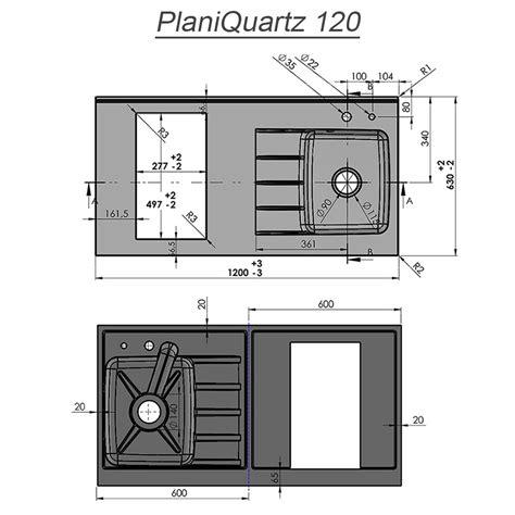 plan de travail cuisine 120 cm plan de travail monobloc planiquartz avec évier à droite