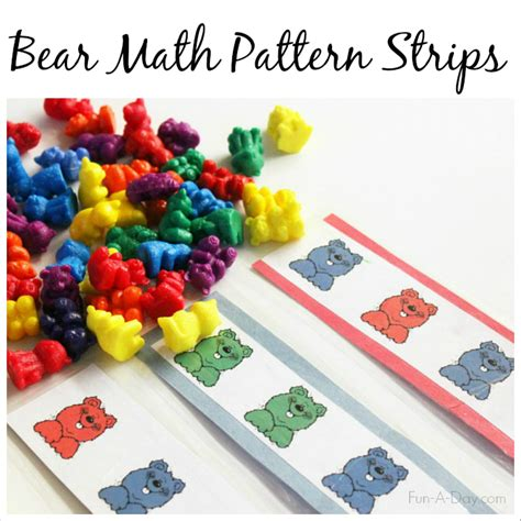 printable bear math patterns  preschoolers  images
