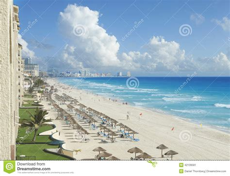 View Of Beach Caribbean Sea And Clouds In Cancun Mexico