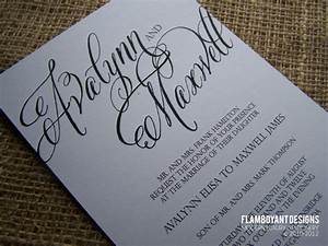 chic calligraphy wedding invitations by flamboyant designs With writing wedding invitations in calligraphy