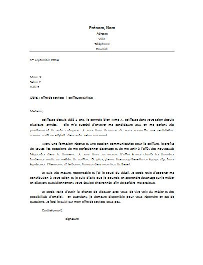lettre de motivation coiffure employment application