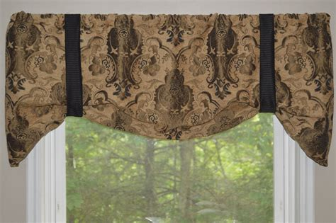 window treatment tie up valance black brown and window