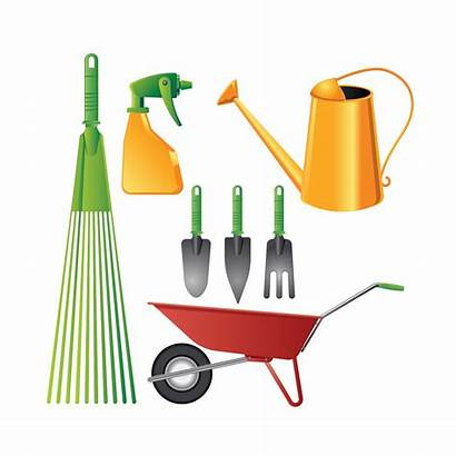 Tools Gardening Vector Realistic Colorful Garden Agriculture