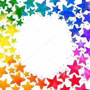 Bilder Mit Weißem Rahmen : rahmen mit handgezeichneten wasserfarben bunte sterne und platz f r den text in der mitte auf ~ Indierocktalk.com Haus und Dekorationen
