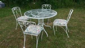 vintage wrought iron patio table and chairs woodard ebay