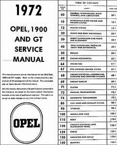 1972 Opel Gt  U0026 1900 Repair Shop Manual Original