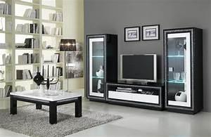 Cuisine Meuble Tv Design Laqu Blanc Et Noir Doria