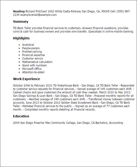 Professional Td Bank Teller Templates To Showcase Your. Recruiter Resume. Qc Supervisor Resume. What Color Paper Should A Resume Be Printed On. Moa Resume Sample