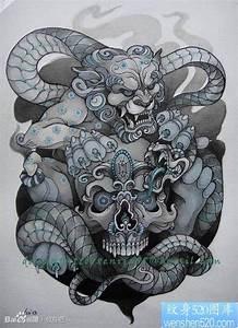 前卫帅气的一张唐狮子与嘎巴拉纹身图片