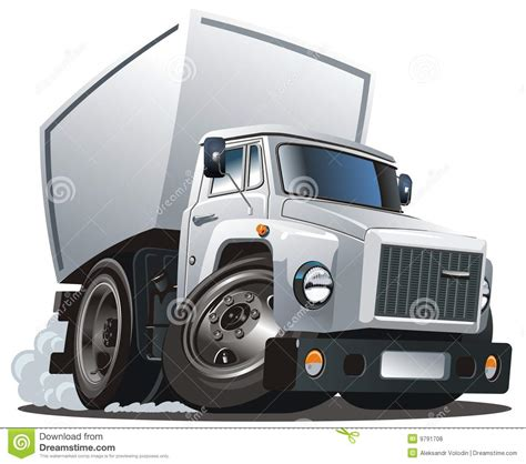 Vector Cartoon Delivery  Cargo Truck Royalty Free Stock