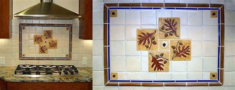custom oak leaf tile kitchen backsplash  ravenstone