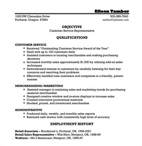 Customer Service Representative Resume Qualifications by Sle Customer Service Representative Resume 9 Free