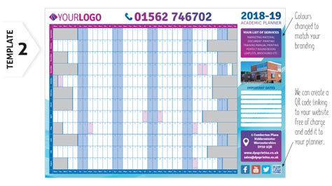 academic year planner wall chart calender printing