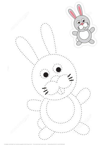 trace  color cartoon rabbit  printable puzzle games